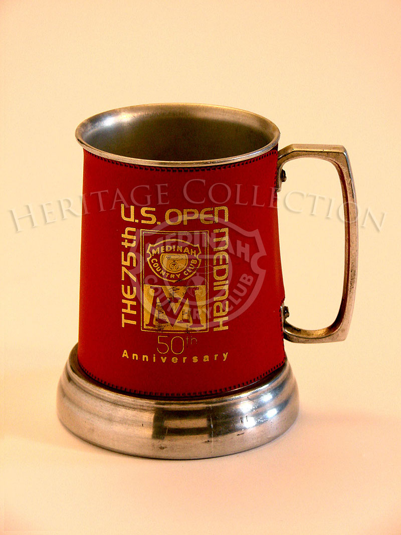 75th U.S. Open Medinah Metal Mug with red leather sleeve.