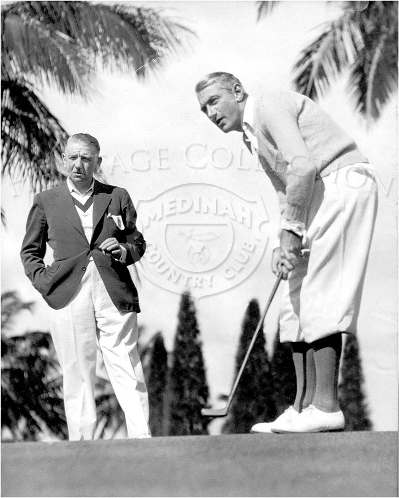 Brothers Sandy Armour (left) and Tommy Armour (right) appeared on page 20 of an issue of Medinah Country Club's monthly publication, The Camel Trail. The caption under the image by S.L. Tidgeon reads: