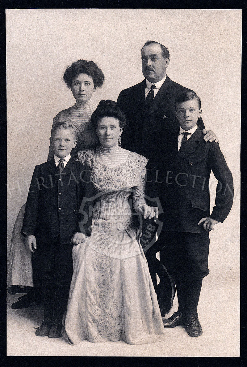Tom Bendelow (1868-1836) posed with wife and their three children in early 1900s. Bendelow was the architect for Medinah Country Club's golf Course No. 1 and No.2, as well as the original Course No. 3. Over his 40-year career, Bendelow is credited with the design of a least 600 courses.