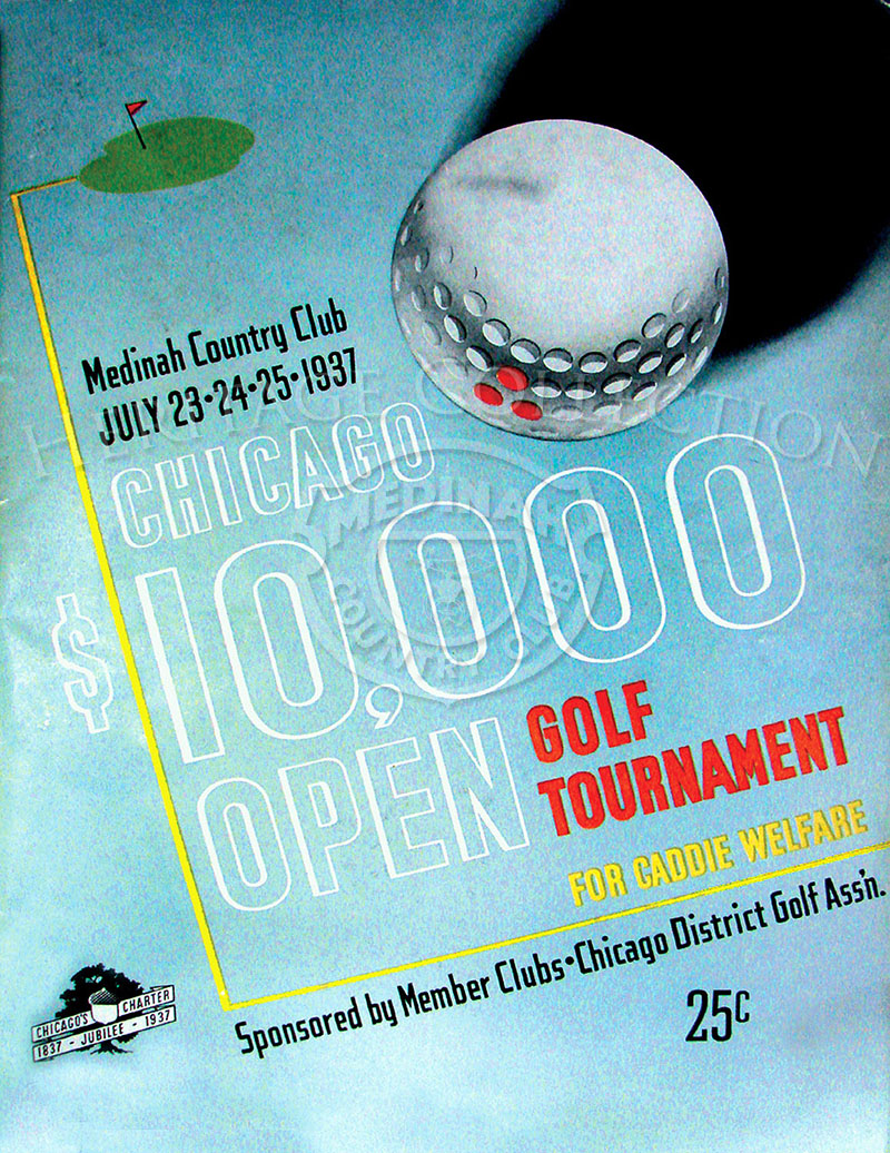 Front cover of the Chicago Open Golf Tournament official souvenir program. One of the featurers in the 80-page publication is,