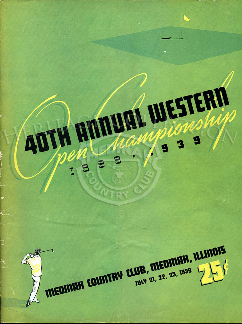 Front cover of the official souvenir program from the 40th Annual Western Open Championship. The 8 1/2 x 11-inch publication contained 54 pages, with a variety of features ranging from