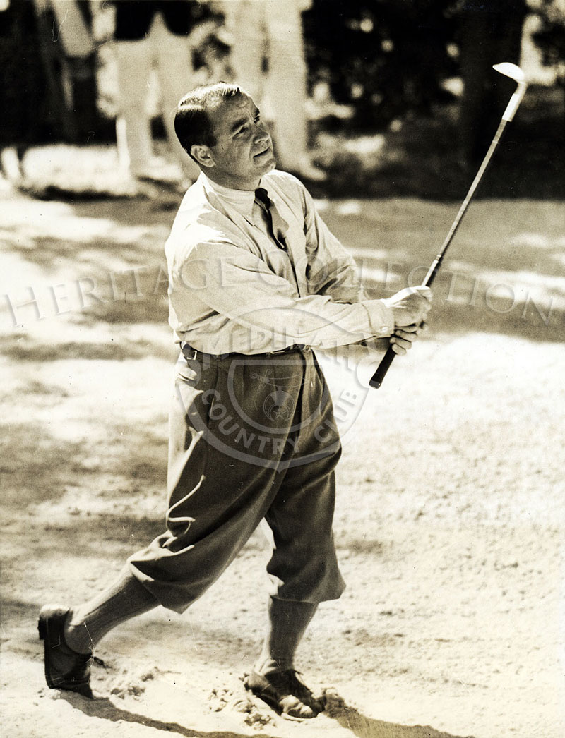 Gene Sarazen blasts out of a sand trap on the No. 4 fairway at Medinah Country Club during the Chicago Open Golf Tournament. Sarazen went on to win over a field of 407 players, and took home $3,000 from the $10,000 purse. One round was played on Course No. 1, and three rounds played on Course 3. The prime mover behind the Chicago District Golf Association tourney was to raised money for the Caddie Welfare Fund.