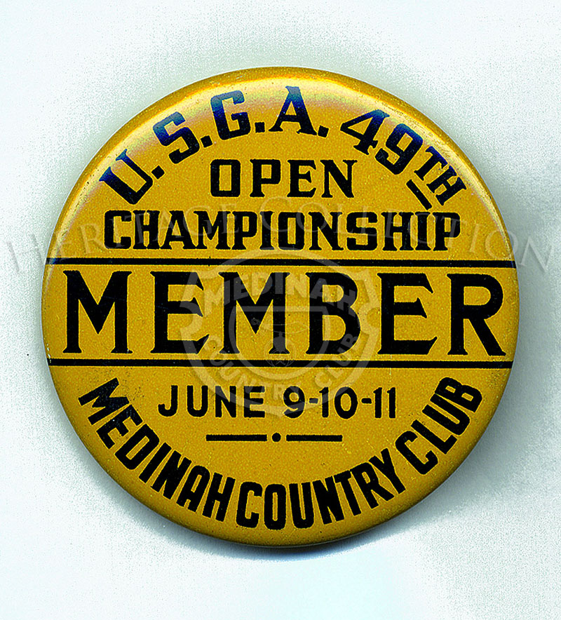 Sanction by the United States Golf Association (USGA), the 49thU.S. Open Championship was held June 9-11, 1949, and won by Dr. Cary Middlecoff. The pictured badge measures 2 1/4-inches in diameter, and was worn to identify a Medinah member. Medinah Coun