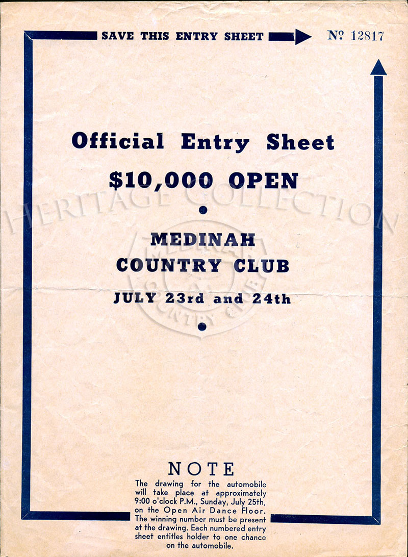 Front cover of four-page Official Entry Sheet for $10,000 Chicago Open played at Medinah Country Club on June 23 & 24, 1937.