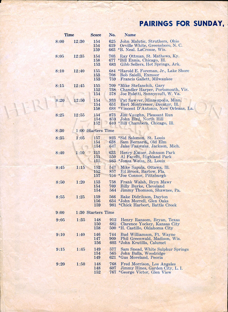 Second of four-page Official Entry Sheet for $10,000 Chicago Open played at Medinah Country Club on June 23 & 24, 1937.