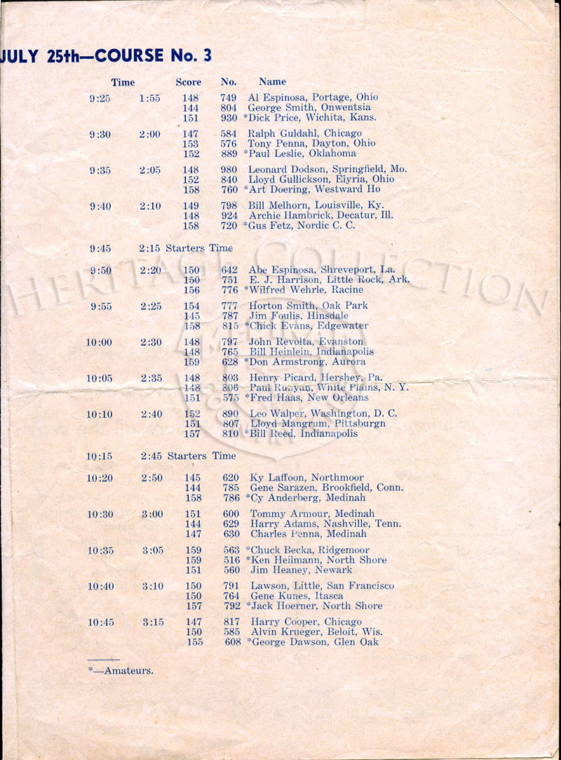 Third of four-page Official Entry Sheet for $10,000 Chicago Open played at Medinah Country Club on June 23 & 24, 1937.