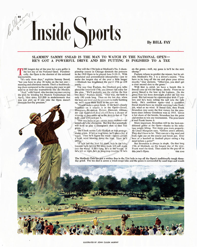 From the June 11, 1949 Collier magazine, a one page article by Bill Fay about the 49th U.S. Open held at Medinah Country Club. From the Roy Landgren collection.