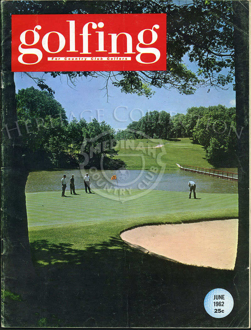 From Golfing magazine. Hole No. 17 on Medinah Country Club's famed No.3 course, site of the Western Open, June 28-July 1, is the most scenic and probably the most difficult hole on the entire layout. It measures 208 yards and the green is fronted by a men