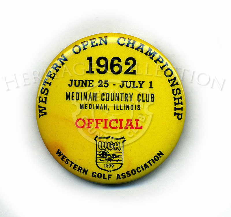 Bright yellow pin worn by an Official during the 59th Western Open tournament in 1962.
