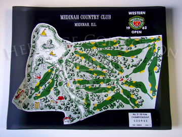 Smoked glass serving tray was one of many souvenirs available during the 59th Western Open in 1962. The screened artwork featureed a bird's eye view of the grounds at Medinah Country Club. Incorporated into the graphic illustration was the 18-hole layout