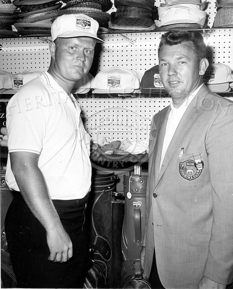 On the left, Jack Nicklaus is seen purchasing a hat from Medinah Golf Pro Jack Bell in 1962.
