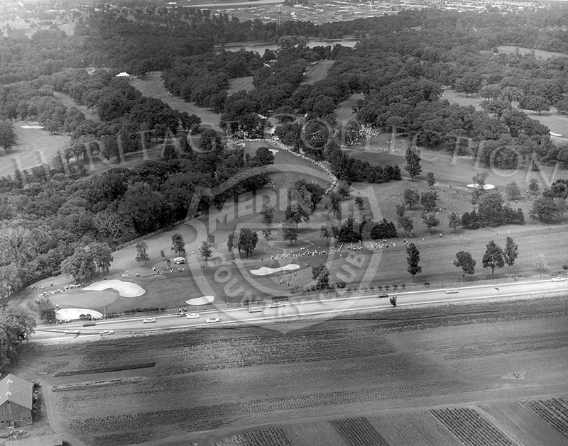 Medinah Country Club during the 1962 Western Open seen from the air, with Lake Street in the forefront of the picture.