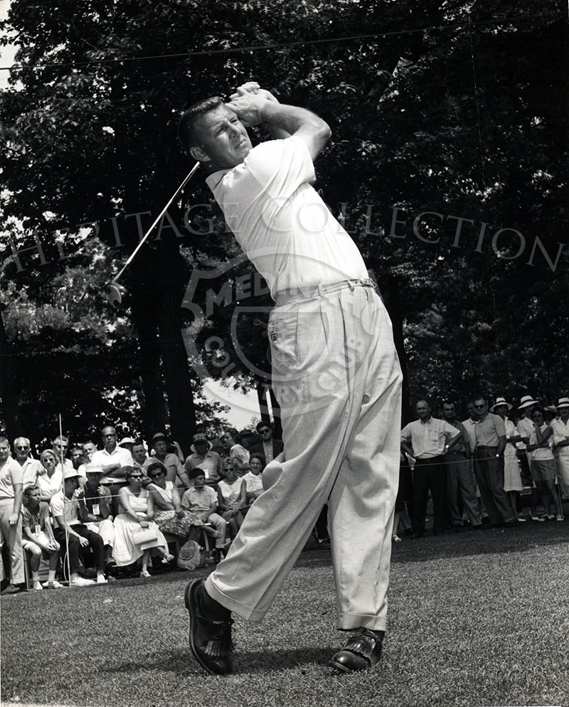 Known for his enormous drives, six-foot, five-inch George Bayer is seen in action during the 59th Western Open in 1962.