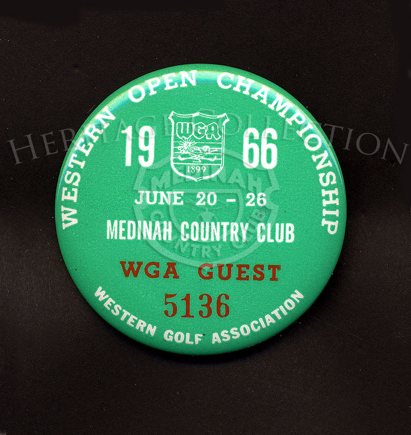 An example of a WGA Guest badge for the 63rd Western Open Championship in 1966.
