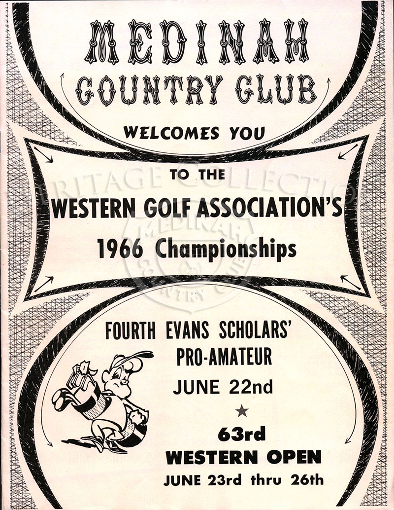 Front cover of the Medinah Country Club Welcomes You brochure, for the 63rd Western Open Championships.