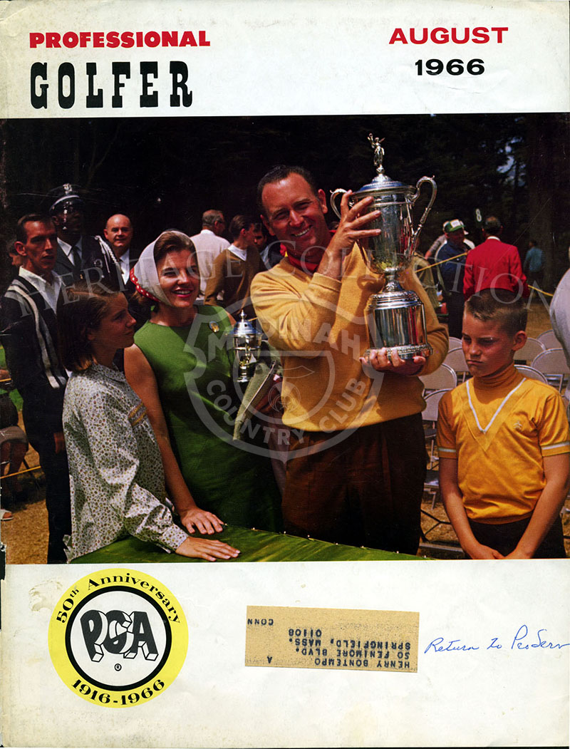 Professional Golfer magazine cover from August 1966, features PGA winner Billy Casper and family.
