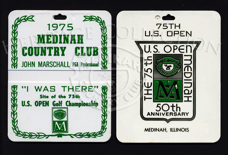 Front and back view of golf bag tags from the 75th U.S. Open Championship.