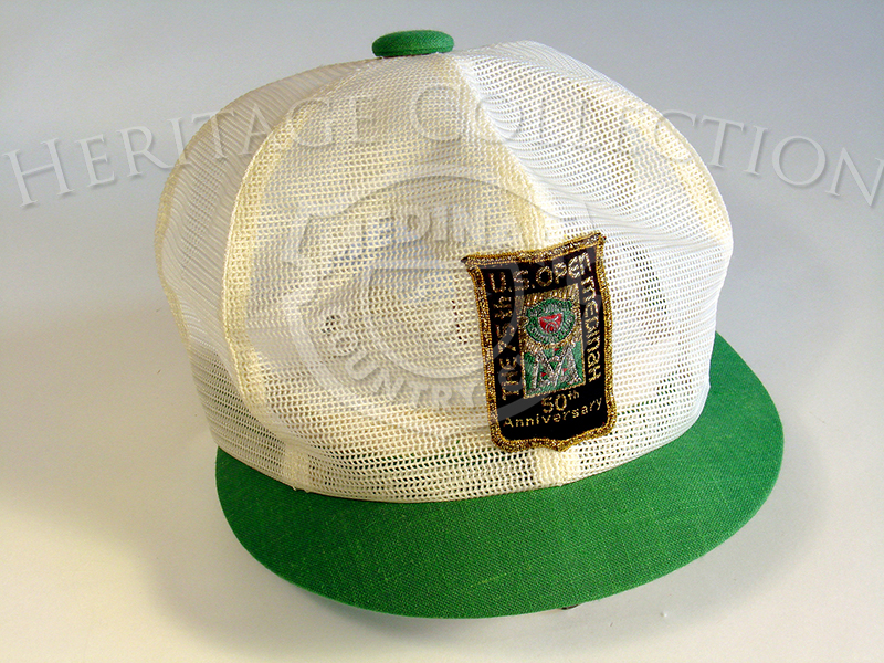 Example of official cap worn by Medinah committee members during the 75th United States Open. The event was held June 19-22, 1975, with playoff round on June 23rd between Lou Graham and John Mahaffey. Graham came in first place.