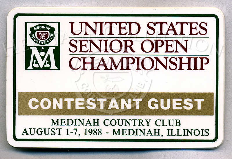 Measuring nearly 2 1/2 x 3 1/2 inches, rectangular plastic badges were provided to guests of contestants during the Ninth U.S. Senior Open Championship.