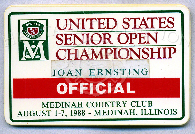 Measuring nearly 2 1/2 x 3 1/2 inches, rectangular plastic badges were provided to identify the Officials during the Ninth U.S. Senior Open Championship.