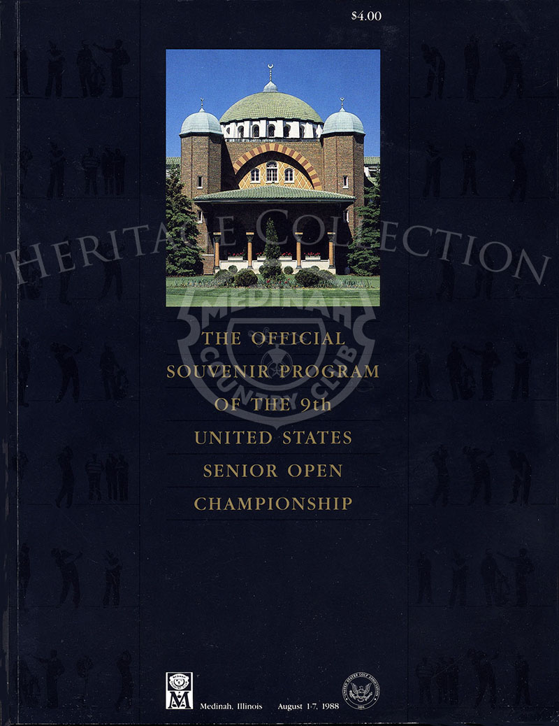Front cover for the official souvenir program from the Ninth U.S. Senior Open Championship held at Medinah Country Club, August 1-7, 1988. with playoff round on August 9th. The 8 1/2 x 11-inch publication contains 208 pages. Gary Player beat out Bob Char