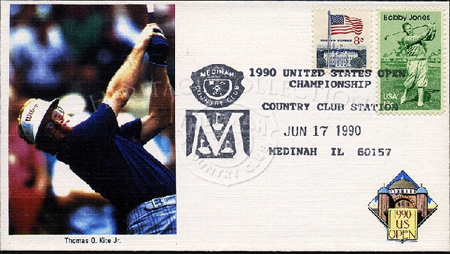 Commemorative envelope for the 90th U.S. Open Championships features Thomas O. Kite Jr. on the cover, as well as an 8-cent American Flag stamp and 18-cent Bobby Jones stamp. Special postmark is from June 17, 1990.