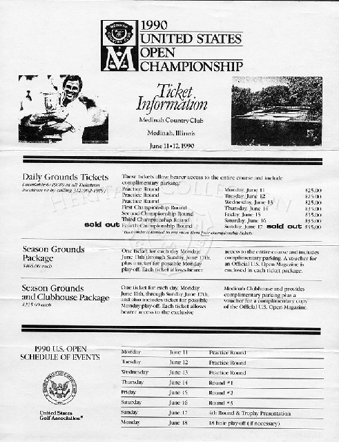 This 8 1/2 x 11-inch ticket order form was for the 90th U.S. Open Championship. There were approximately 10,000 tickets per day that were available on a first come - first serve basis. Each order was limited to not more than four Championship round ticket