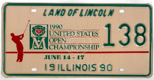 An official Illinois license plate, number 138, commemorated the 90th United States Open held at Medinah Country Club. An 18-hole playoff round took place on June 18th, 1990 between Hale Irwin and Mike Donald . Irwin proved victorious.