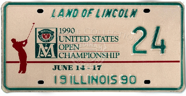 An official Illinois license plate, number 24, commemorated the 90th United States Open held at Medinah Country Club. An 18-hole playoff round took place on June 18th, 1990 between Hale Irwin and Mike Donald . Irwin proved victorious.