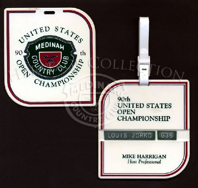 Large tags for golf bags were used during the 90th U.S. Open championships, with the official Medinah Country Club logo on one side. The flipside had a place for an embossed label with the bag owner's name. Mike Harrigan was the Head Pro at Medinah in 19