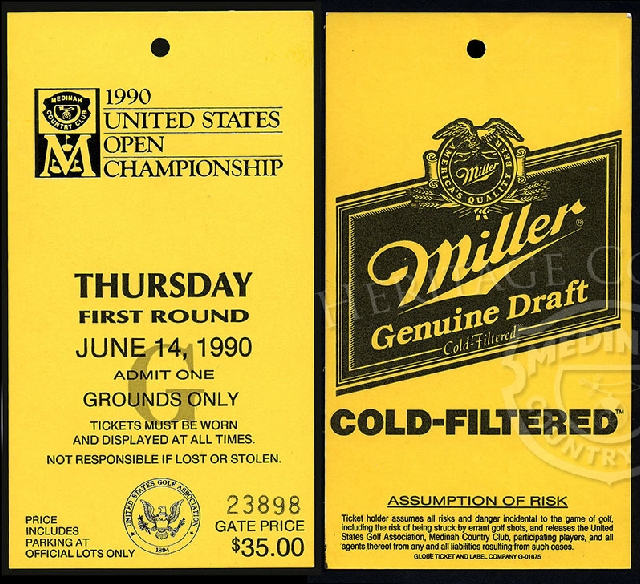 A 3 x 5 1/2-inch ticket issued for the First Round of the 90th U.S. Open on Thursday, June 14, 1990. The ticket has a $35.00 Gate Price, and admits one for the Grounds Only.