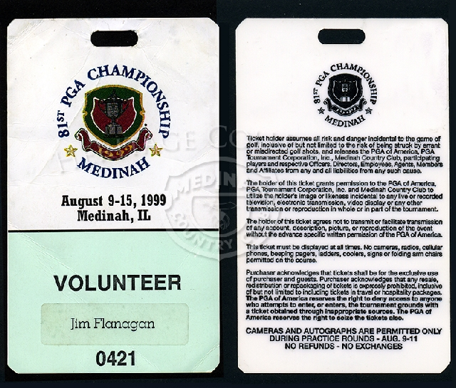 Pictured, is an example of the special ticket/credentials for a volunteer worker during the 81st PGA. On the reverse side, are the conditions assumed by the ticket holder and the PGA. The plastic coated paper ticket measures 2 1/2 x 4 1/4-inches.