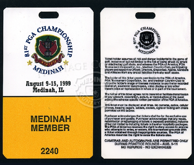 Pictured, is an example of the ticket/credential worn by Medinah members during the 81st PGA. On the reverse side, are the conditions assumed by the ticket holder and the PGA. The plastic coated paper ticket measures 2 1/2 x 4 1/4-inches.