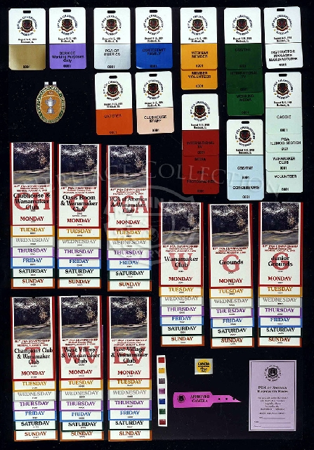 Group together are a variety of credentials, tickets and stickers that were issued for the 81st PGA Championship.