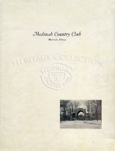 Circa 1930s picture brochure promoting Medinah Country Club. There are 16 pages, including covers.