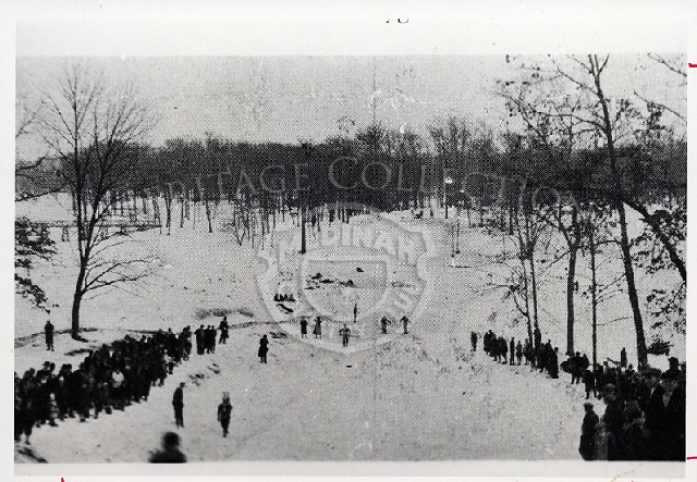 Historical view of toboggan slide once located on the grounds of Medinah Country Club.