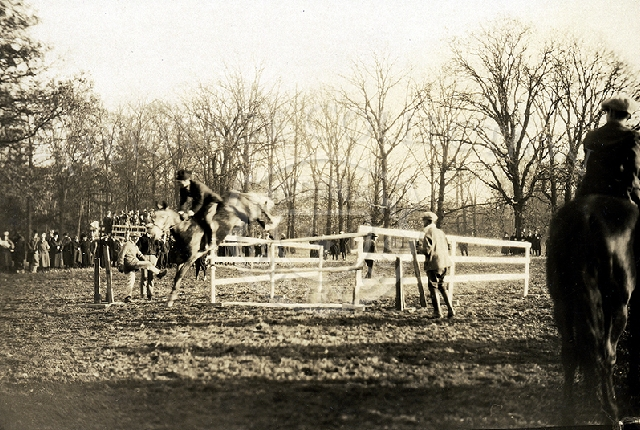 Photo of Equestrian Show, horse jumping. Circa 1920s.
