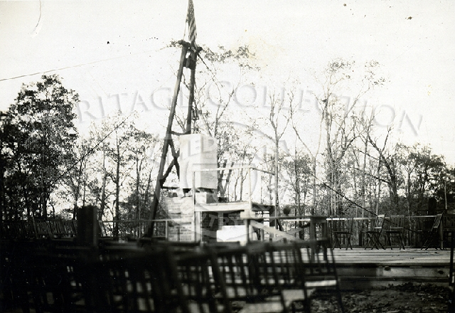 Cornerstone ceremony stage in 1924. Erecting the flag.