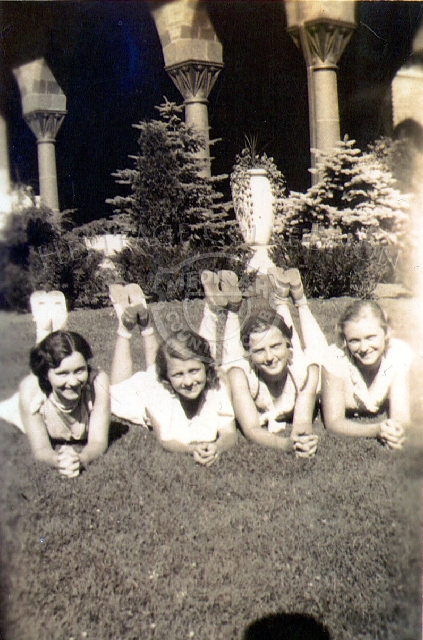 Photo from 1932 shows Barbara Schmidt, second from right, along with three friends. Barbara was the daughter of Mr. & Mrs. E..A. Schmidt. Other names include, Lto R: Fran Mae, Fran Knip and on far right, Ruth (no last name).
