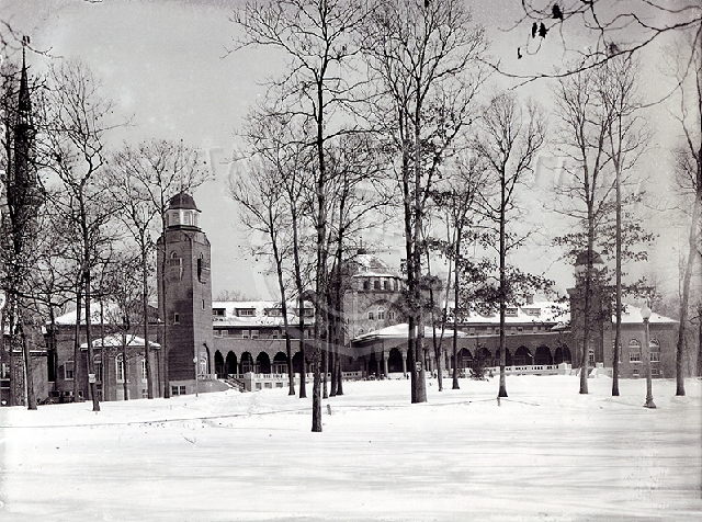 Winter scene of front of Medinah Country Club clubhouse from 1929.