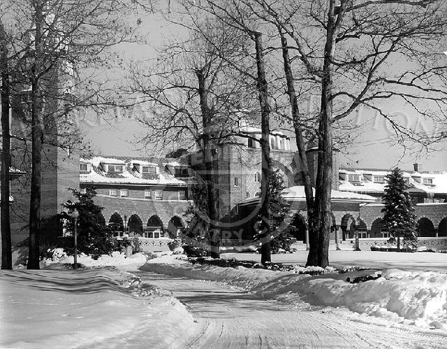 Winter scene of clubhouse at an angle. Negative print #81022