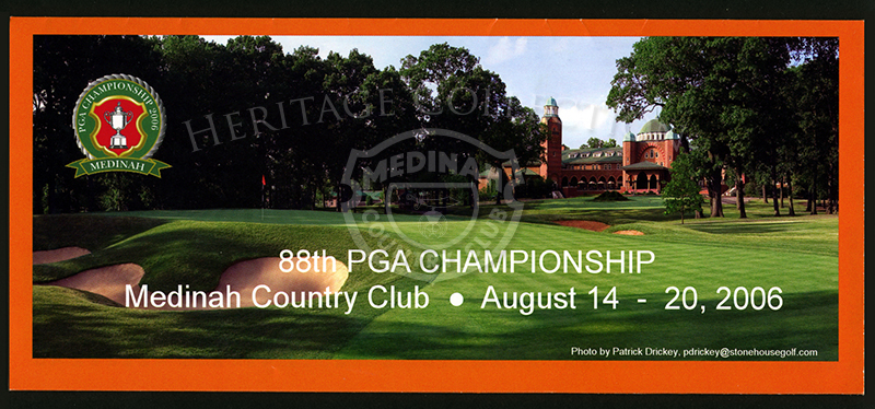 3.75 x 11-inch folded pamphlet opens to 11 x 17-inch information sheet. Listed are details on public parking lots, gate hours and events, general information, weather warnings and television coverage during the 88th PGA Championship at Medinah Country Clu