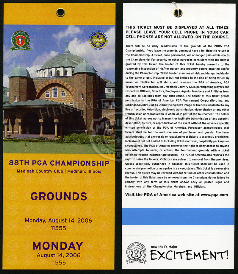 Grounds ticket for Monday, August 14, 2006.