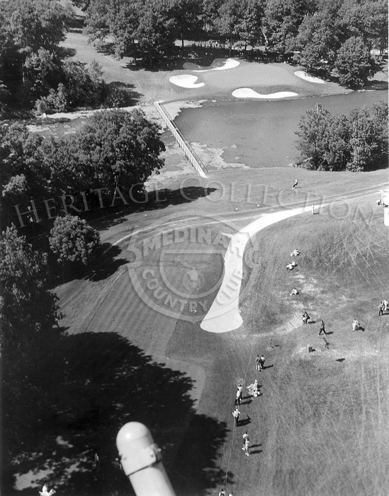 Aerial view of Course No. 3, showing the old 17th green.
