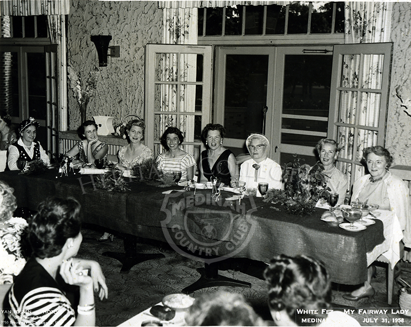 White Fez Day - My Fairway Lady. July, 31, 1958. 8 women at dining table.