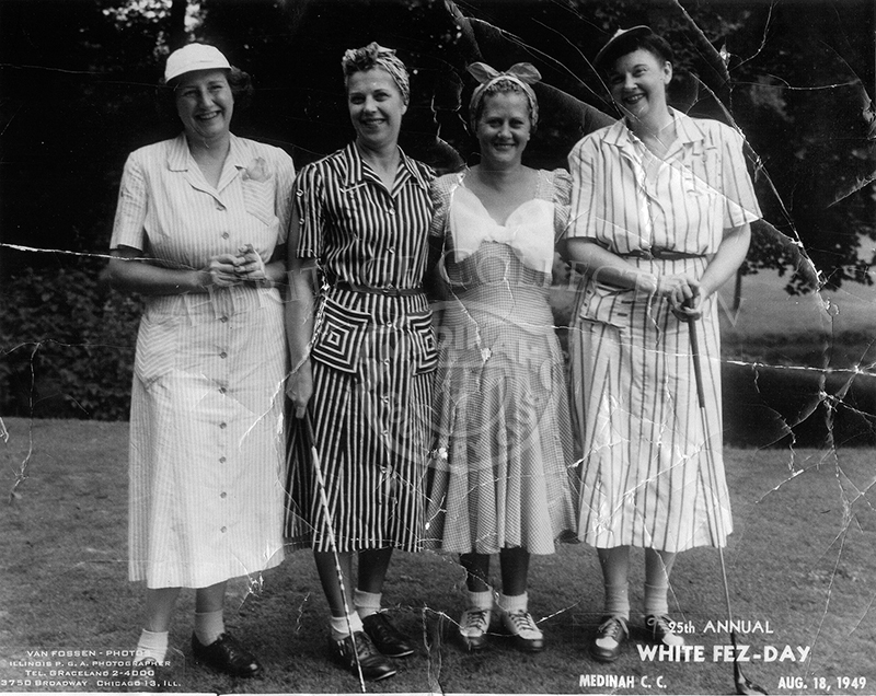 25th Annual White Fez Day, August 18, 1949. Four ladies posing for photo.