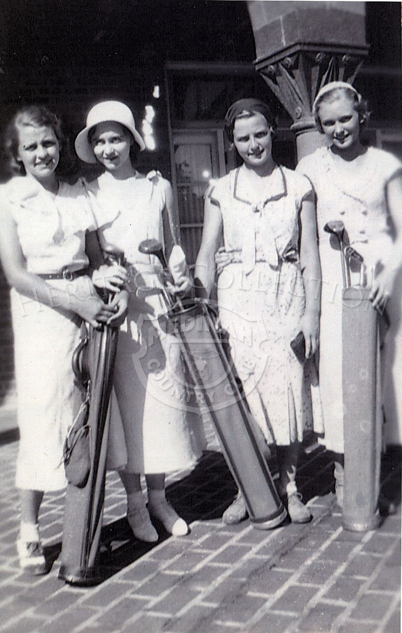 Four young female golfers posed with their golf clubs at Medinah in 1932. (Left to Right) Fran Knip, Fran Mae, Barbara Schmidt and Ruth Schultz?