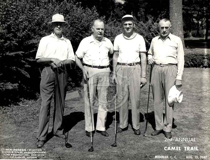 L to R - Sanders, Sasser, Olson, Pipenhagen. 21 annual Camel Trail Day, Aug 13, 1947.