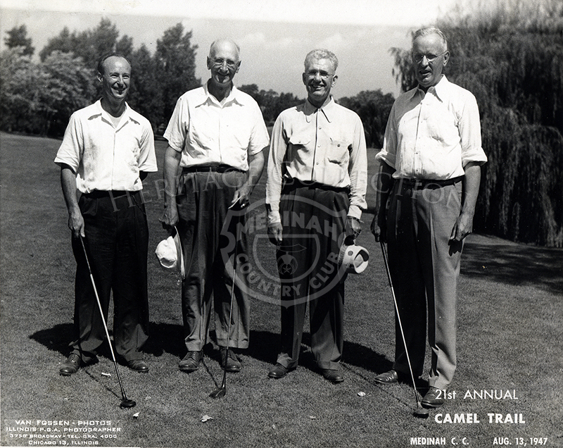 L to R - Pollack, Brackof, ?, Klein at 21st Annual Camel Trail Day, Aug 13, 1947.