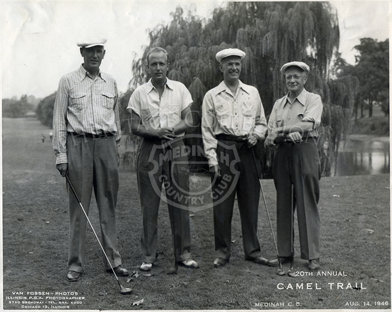 Pollock, unidentified, Brockob and Carlson at the 20th Annual Camel Trail Day, held August 14, 1946.